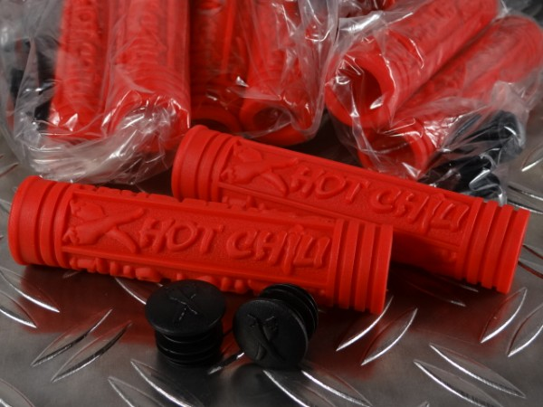 """Hot Chili Tricky Fingers MTB-Griffe """"Rot"""" NOS"""