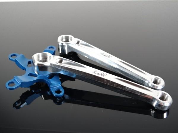"""L&M MTB Kurbel """"Silber/Blau"""" CNC"""